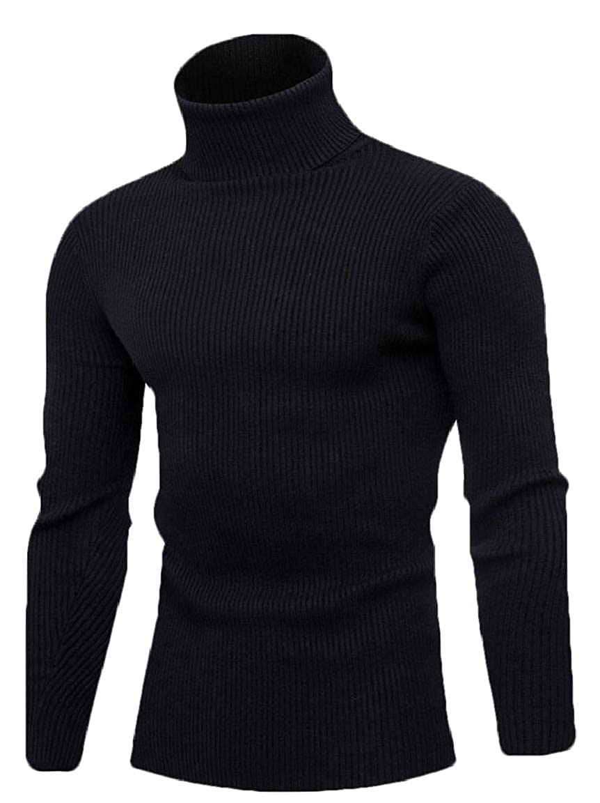 omniscient Mens Slim Fit Cable Knitted Long Sleeve Turtle Neck Pullover Sweater