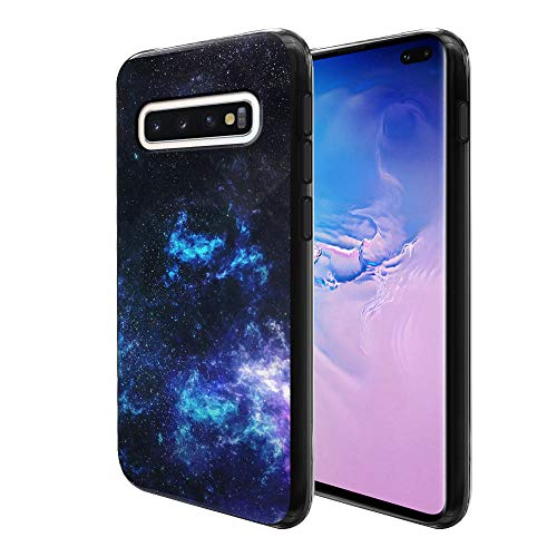 FINCIBO Case Compatible with Samsung Galaxy S10+ / S10 Plus 6.4 inch, Flexible TPU Black Soft Gel Skin Protector Cover Case for Galaxy S10 Plus (NOT FIT S10, S10E) - Galaxy Star Space
