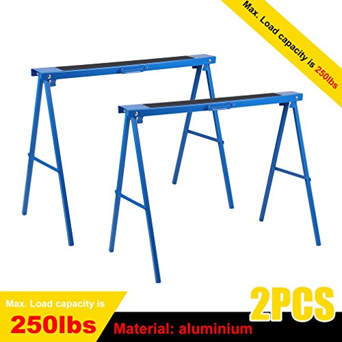 All Steel 39inch Folding Sawhorse by Coldcedar , Heavy Duty Portable Saw Horses: Height Adjustable, Fully Assembled 250 lb Weight Capacity Each and Quickly Folds Up for Easy Storage, Pack of 2 (Folding Steel Sawhorse)