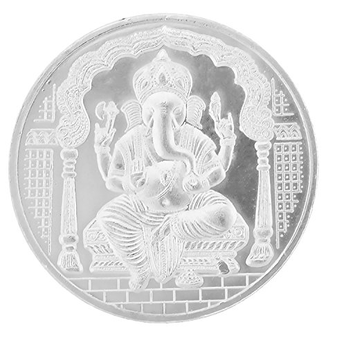 Ananth Jewels BIS Hallmarked 999 Purity Silver Coin Lucky Ganesha And Om 1 Gram x Pack of 5 (Hallmarked Silver Cufflinks)