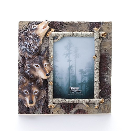 Wolf Frame Photo - Aodicon Resin Picture Frame, Wolf Heads Frame Personality Creative Resin Artwork 4x6 inch Photo