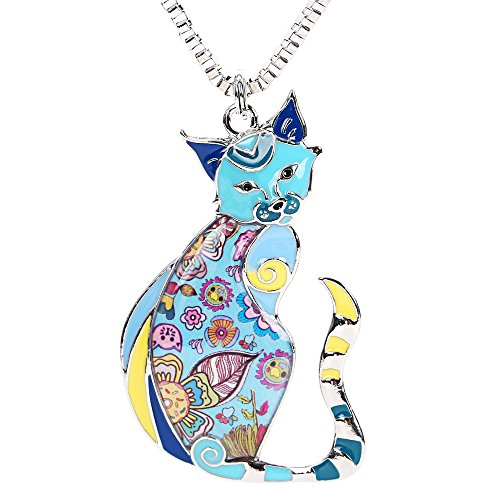 Marte&Joven Enamel Printed Cat Box Chain Necklace for Women Teens Cat Lovers Pendants Jewelry Great Gifts