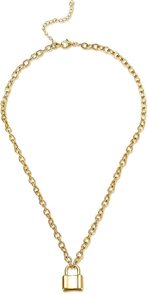 M MOOHAM Lock Chain Necklace, Stainless Steel Silver Gold Lock Pendant Necklace Padlock Chain Necklace
