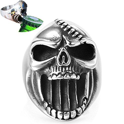Jude Jewelers Retro Vintage Stainless Steel Skull Biker Gothic Ring, Also a Bottle Opener