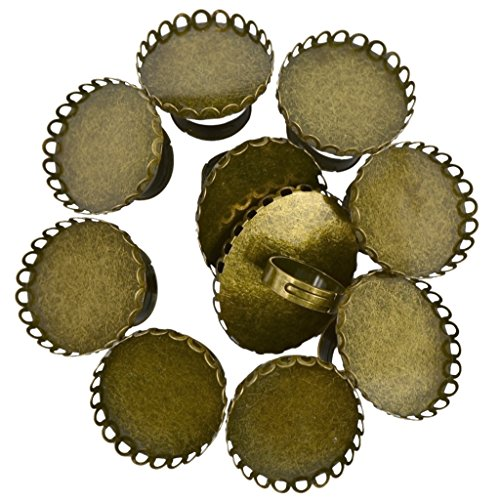 Pack of 10Adjustable Brass DIY Blank Oval Flower Ring Base for 30x40mm Cabochon