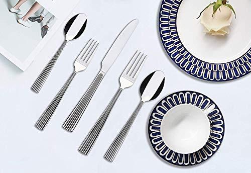 Lorena RHETT 20-piece Stainless Steel Silverware Set (Dinner Fork, Salad Fork, Knife, Spoon, Teaspoon) in Dishwasher…