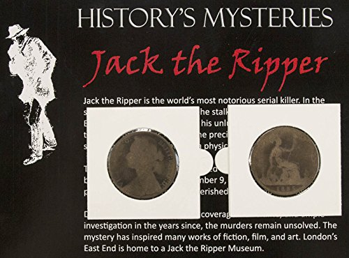 History's Mysteries JACK THE RIPPER COIN - Authentic Penny from Whitechapel England Area in Circulation During the Period of Jack the Ripper - Comes in Folder with Certificate of Authenticity
