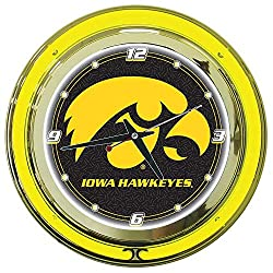 NCAA University of Iowa Chrome Double Ring Neon Clock, 14 (Renewed)