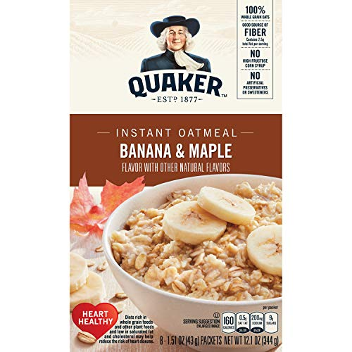 Quaker Instant Oatmeal Breakfast Cereal, Banana and Maple, 12.1 ()