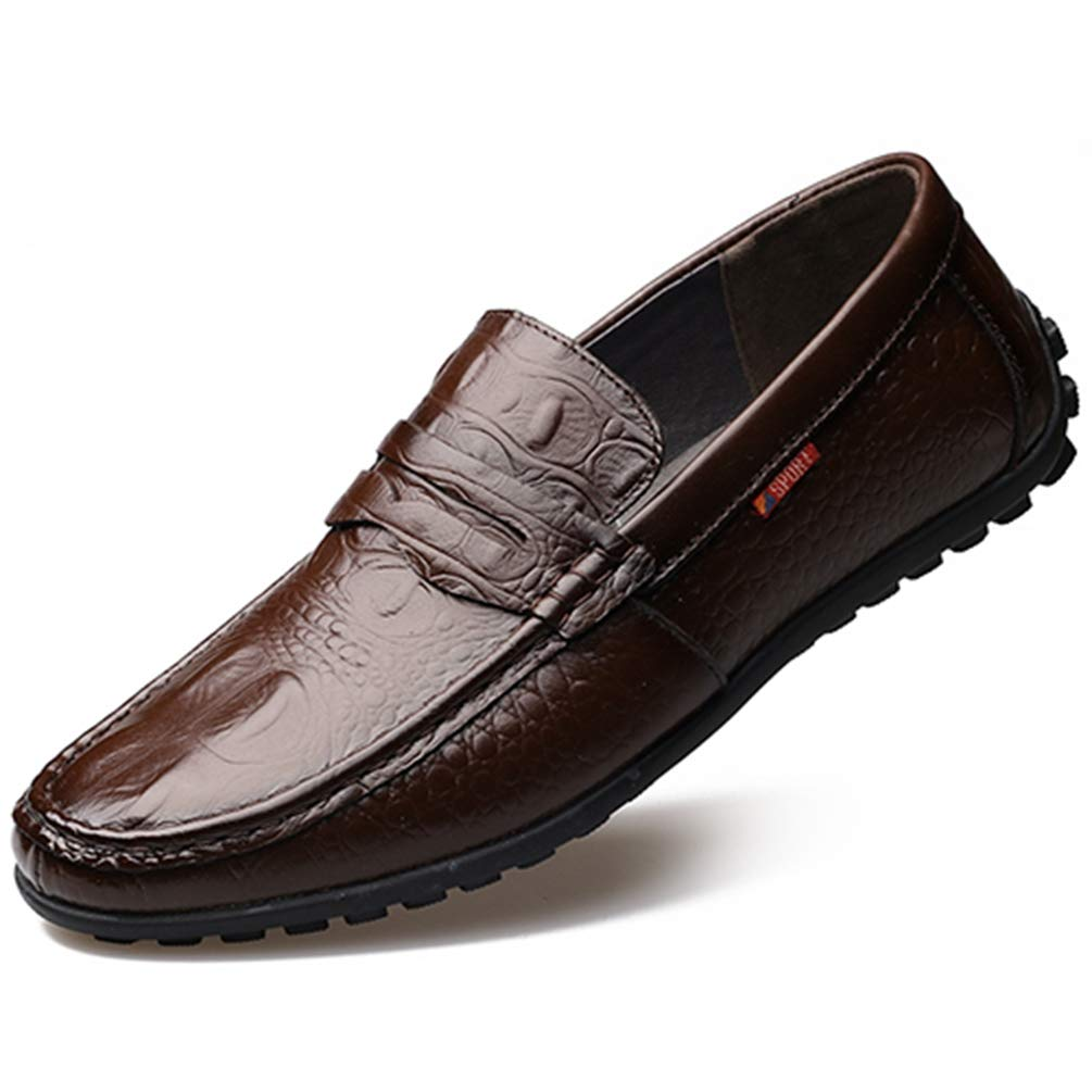 Hombres Zapatos Formales BáSicos Zapatos Cuero Moda Hombres Pisos 44 EU|Marrón Oscuro