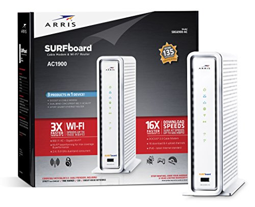 ARRIS SURFboard SBG6900AC Docsis 3.0 Cable Modem/ Wi-Fi AC1900 Router - Retail Packaging – White