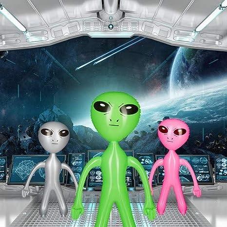 Relaxdays Alien Muñeco Hinchable, PVC, Verde, 61 X 35 X 14 cm ...