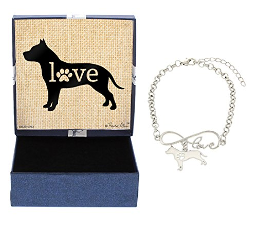 Mother's Day Gifts Love Pitbull Bracelet Gift Love Charm Dog Breed Silhouette Charm Bracelet Silver-Tone Bracelet Gift for Pitbull Owner Jewelry Box Mothers Day Gift Idea For A Rescue Dog Mom