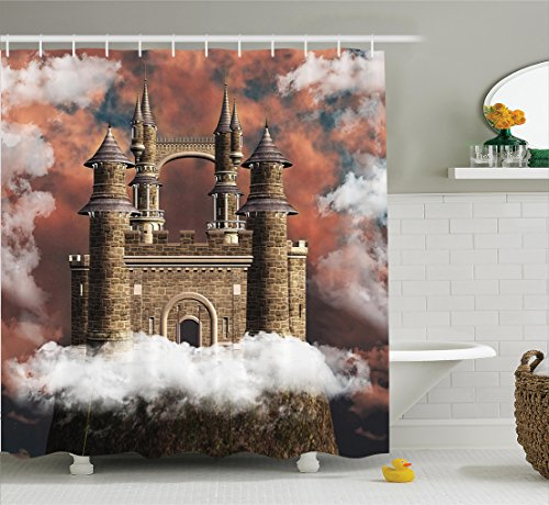 Ambesonne Medieval Decor Collection, Fairy Magic Castle on the Hill Middle Age Tales Unusual Facts in Graphic Art, Polyester Fabric Bathroom Shower Curtain, 84 Inches Extra Long, White Red (Castle Hill Collection)