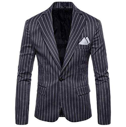 Men's 1 Button Office Stripe Stylish Printed Blazers Jacket Dark Grey 2XL