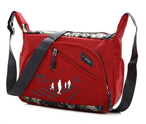 Wewod Bandolera Viaje/Bolsos de Hombro Grandes/Bolsos de Hombro Grandes/Bolso Escolar Niña 28 x 23 x 8 cm (L*H*W) (Negro) Rojo-a