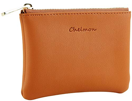 (Chelmon Genuine Leather Coin Purse Pouch Change Purse With Zipper For Men Women (Tan))