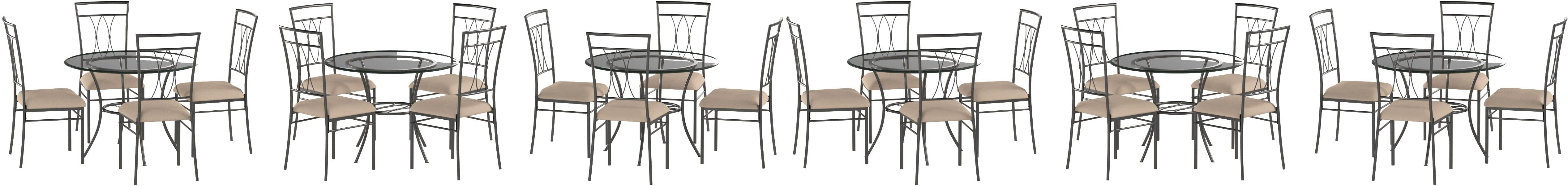 Amazon Com Mss 5 Piece Glass And Metal Dining Set Includes Table And 4 Chairs Solid Metal Tubing Easy Assembly Upholstered Seat Cushions Comfortably Seats Four People With 42 Inch Round Table Surface