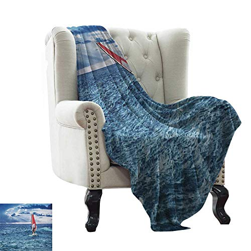(BelleAckerman Gravity Blanket Ride The Wave,Windsurfer in The Sea Exotic Adventure Happy Summer Beach Challenge Picture, Night Blue Flannel Blankets Super Soft Warm Thick Blanket for Home 60