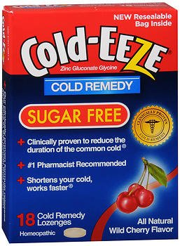 COLD-EEZE Lozenges Natural Wild Cherry Flavor Sugar Free 18 Each (Pack of 4)