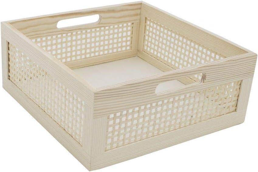 Woven Bamboo Wood Storage Basket with Inside Handle for Shelves/Bathroom/Office Desk