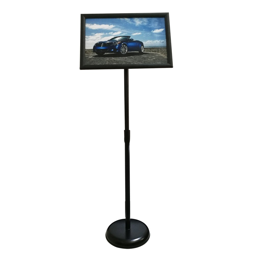 HAITIAN Sign Holder Poster Stand - Fits for 11 X 17 Inch Poster, Adjustable Stand Height, Poster Frame Revolvable To Either Horizontal or Vertical View Display, Metal Material Color Black