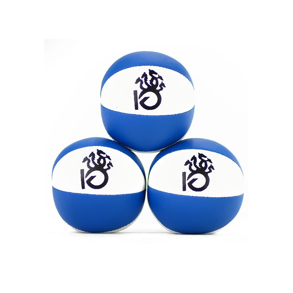 KickFire Hydras Juggling Balls 6 Panel Leather Juggling Equipment for Beginners & Professionals   Fits of Hands   Set of 3 Blue White by KickFire Classics