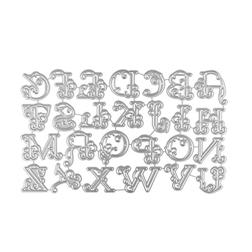 Staron Cutting Dies Cut 26 Pcs Silver Large Big Lace Alphabet Letters Metal Die Cuts Card Making Scrapbooking Stencils Nesting Die for DIY Embossing Photo Album Decorative Paper Cards Making Craft (A) by Staron (Image #1)