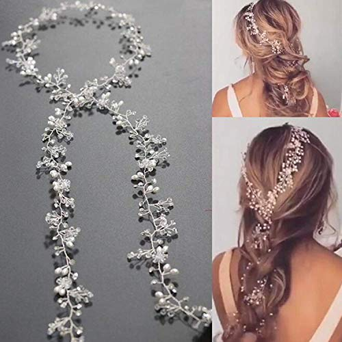 Yean Wedding Hair Vine Long Bridal Headband Hair Accessories for Bride and Bridesmaid (100cm / 39.3inches) (Silver)