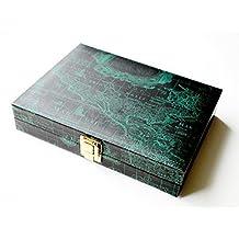 "Backgammon Set - 9"" magnetic, dark green vinyl with map pattern"