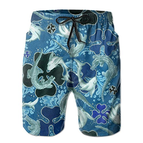Janeither Men's Beach Wear Crocodile Attacks Shark Home Beach Shorts Quick Drying Swim Trunks Boardshort]()