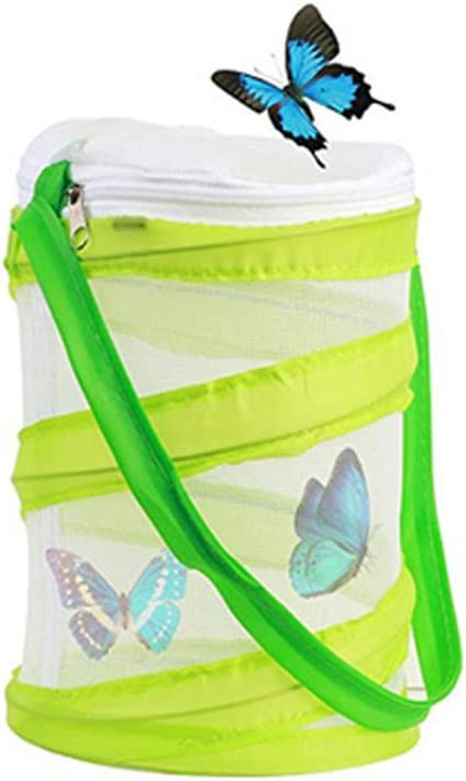 Wenosda Butterfly Habitat Collapsible Bug Catcher Net Mesh Insects Plant Cage Pop-up for Child/Catching Caterpillars/Ladybird/Fish/Laundry Bag ( 30X35CM/11.81INX13.78IN, Green Big Box)