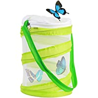 Yeelan Butterfly Habitat Collapsible Bug Catcher Net Mesh Insects Plant Cage Terrarium Pop-up for Kids/Child/Toddler Catching Crickets/Firefly/Caterpillars/Ladybird/Finsh etc (green, small size)