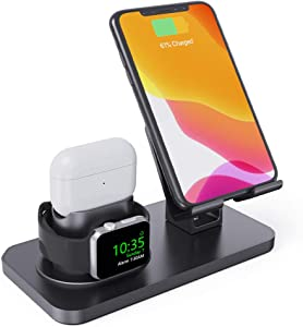 Charging Stand for Apple Watch Series 5/4/3/2/1, 3 in 1 Stand Dock Station Holder for Airpods 2/1/Pro, Rotation Desktop Stand Charger for iPhone 11 Pro Max/Xs Max/Xs/Xr/X/8/8Plus iPad Tablet (Black)