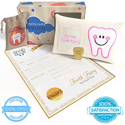 Tooth Fairy Pillow Kit  5-piece Gift Set for Girl or Boy Includes Tooth Pillow with Pocket, Tooth Shaped Coin, Tooth Bag for Parents to Save Teeth, Official Letter Note, and Keepsake Box for Stowage