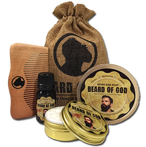 4PK BEARD BUTTER + OIL + BAR SOAP + WOOD COMB & SACK by BEARD of GOD | Sample Pack | WOODSY OUD (Sample Cocoa Butter)