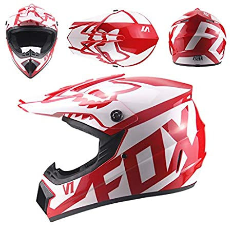 Full Face Motocross Helmet M Safety Cap Flip Up Helmets Motorbike Helmet for Off-Road Motorcycle Helmet with Gloves Mask Glasses,XL58~59CM 225-BH-21-1