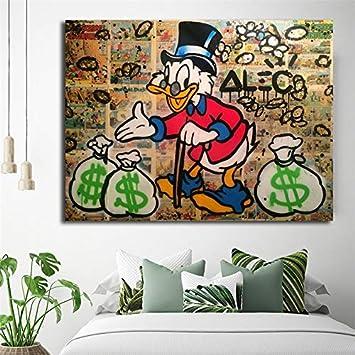 wojinbao sin Marco Money Scrooges Mcduckes Lienzo Poster Alec Monopoly murales y Pinturas Decorativas decoración Moderna para el hogar 30x40cm: Amazon.es: Hogar
