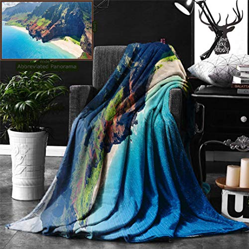Unique Custom Double Sides Print Flannel Blankets Beach Hawaiian Decorations Na Pali Coast On Kauai Island In Hawaii Sunny Day Seaside M Super Soft Blanketry for Bed Couch, Twin Size 80 x 60 Inches by Ralahome