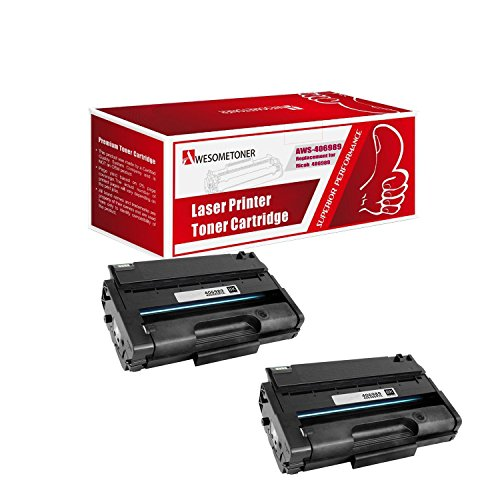 (Awesometoner Compatible 2 Pack 406989 Toner Unit For Ricoh Aficio SP3500, SP3500DN, SP3500N, SP3500SF, SP3510, SP3510DN, SP3510SF High Yield 6400 Pages)