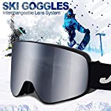 Ski Goggles Men Youth Boys Women and Girls Anti Fog Snowboard Goggles UV400 ATV Snow Skiing Ski Glasses OTG Over-The-Glasses Interchangeable Lens Flexible Soft TPU Frame Helmet Compatible, 6 colors