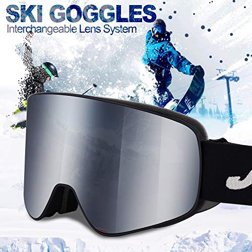 Ski Goggles Men Youth Boys Women and Girls Anti Fog Snowboard Goggles UV400 ATV Snow Skiing Ski Glasses OTG Over-The-Glasses Interchangeable Lens Flexible Soft TPU Frame Helmet Compatible, 6 colors