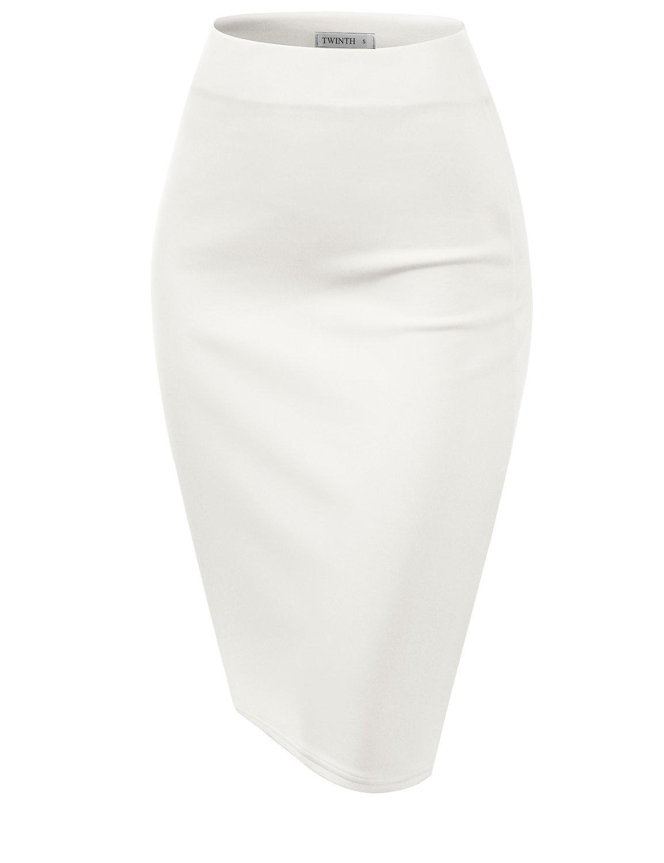 CLOVERY Women's Basic Stretch Cotton Foldover Waistband Bodycon Tube Mini Skirt White XL Plus Size