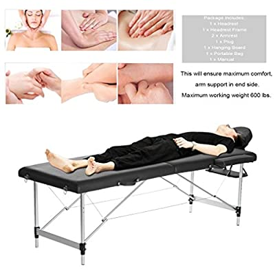 Water-chestnut Portable Folding Massage Table 2 Fold Aluminum Alloy Frame