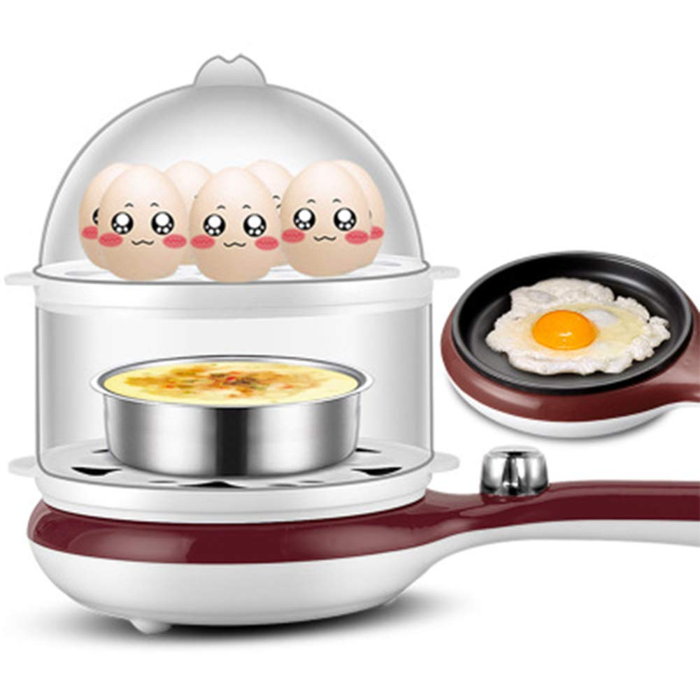HKKJC 3 in 1 Multi-Function Electric Egg Cooker up to 14 Eggs Boiler Steamer Fry Double Layer Cooking Tools Kitchen Utensils,B