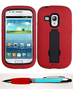 Accessory Factory(TM) Bundle (the item, 2in1 Stylus Point Pen) SAMSUNG G730A (Galaxy S III mini) Black Red Symbiosis Stand Protector Cover