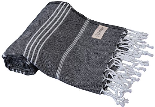 - Anatolia Turkish Towel - Bath Beach Fouta Peshtemal - Classic Striped Pestemal - 37X70 Inches, Black (Ringspun Terry Robe)