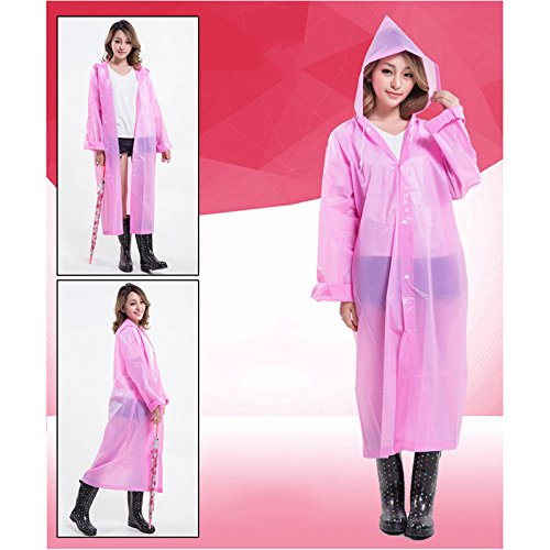 Portable Raincoat Hrph Coat EVA Environmental Poncho Raincoat Use Women Light Fashion Long Rain Transparent Red wFqqrxUYp