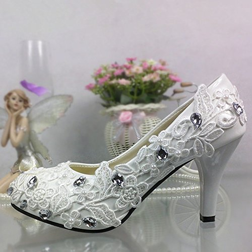 Blanc JINGXINSTORE Chaussures de mariage strass dentelle blanche High-Heeled bouche ronde mariée femmes chaussures UK6