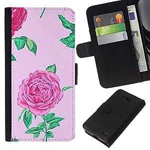 KLONGSHOP // Tirón de la caja Cartera de cuero con ranuras para tarjetas - begonia rosa floral de flor de primavera pétalo - LG OPTIMUS L90 //